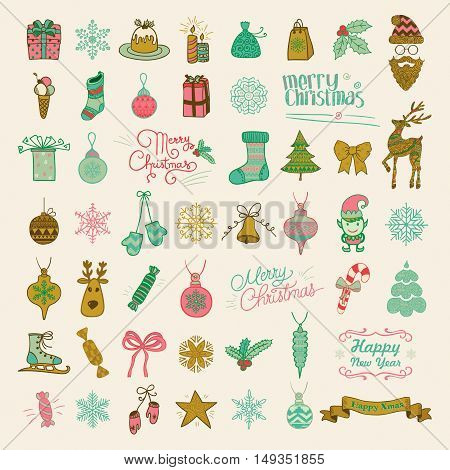 Set of Colorful Hand Drawn Artistic Christmas Doodle Icons. Xmas Vector Illustration. Outlined Sketched Decorative Design Elements, Cartoons. New Year