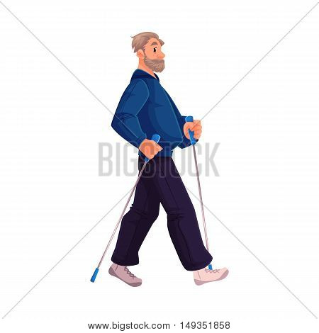 Mature male nordic walker, cartoon style vector illustration isolated on white background. Elder man doing nordic walking, full height portrait, side view. Elder male Nordic walker in sports suit