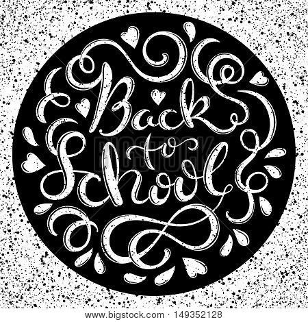 Welcome back to school poster with hand-drawn lettering, vector illustration