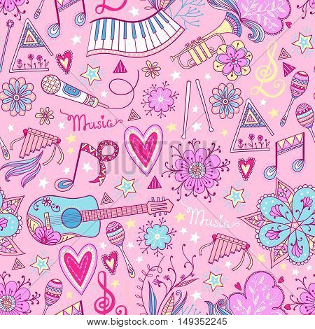 Hand-drawn music instruments and ornamental floral elements in 60s style. Vector seamless pattern design.