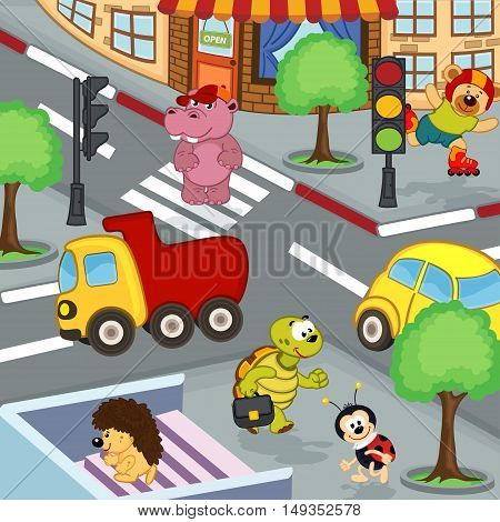 animals at crossroads - vector illustration, eps