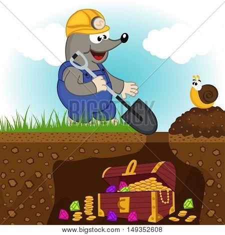 mole digs treasure - vector illustration, eps