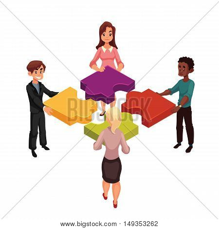Four people of diverse ethnicity connecting jigsaw puzzle elements, cartoon style illustration isolated on white background. Concept of partnership as putting jigsaw puzzles together