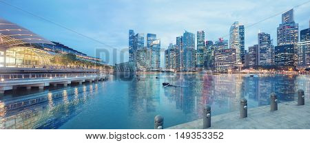 Singapore central quay panorama glowing at night