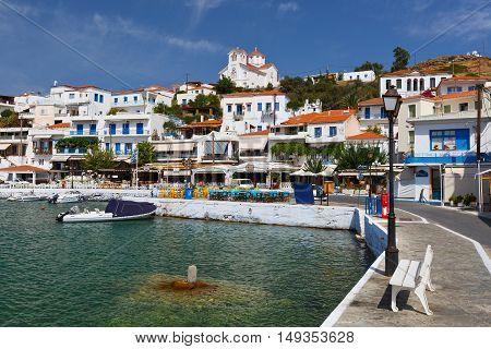 BATSI, GREECE SEPTEMBER 19, 2016: Batsi village on the coast of Andros island in Greece on September 19, 2016.