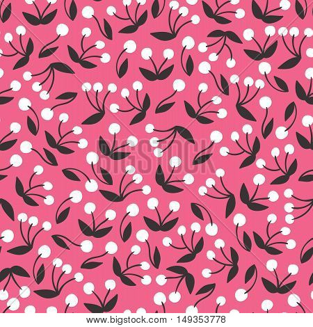 Seamless pink berry pattern background. Vector nature illustration.