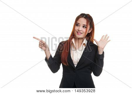 Excited Asian Business Woman Point To Blank Space.