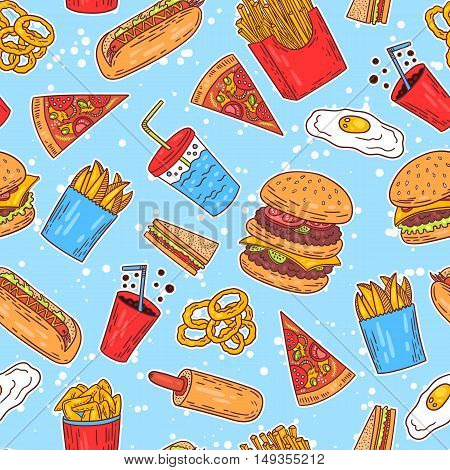 Hand-drawn seamless american fast food pattern with hanburger hot dog and fries. Vector illustration.