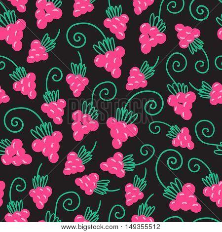 Seamless pink raspberry pattern background. Vector nature illustration.