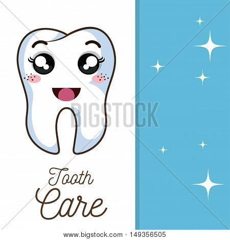 cartoon human tooth with happy expression face. vector illustration
