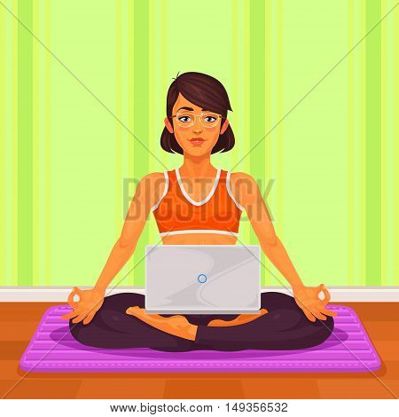 Vector illustration of a girl yoga in the lotus position. The girl is engaged in yoga and is working at a laptop.