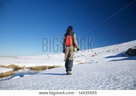 Hiking Woman On Snow