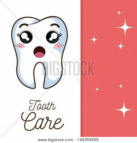 cartoon human tooth with surprised expression face. vector illustration