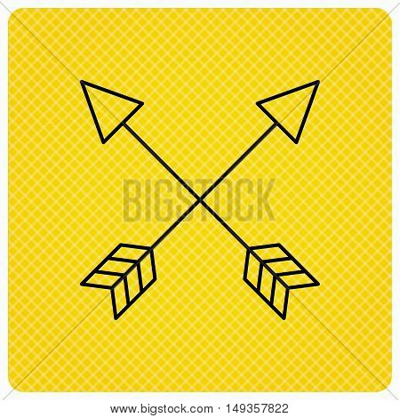 Bow arrows icon. Hunting sport equipment sign. Archer weapon symbol. Linear icon on orange background. Vector