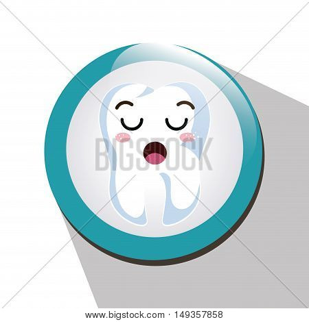 cartoon human tooth with lazy expression face over blue and white circle. vector illustration