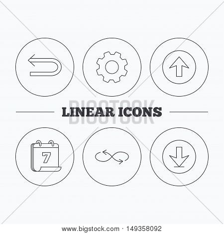 Arrows icons. Download, repeat and shuffle linear signs. Upload, back arrow flat line icons. Flat cogwheel and calendar symbols. Linear icons in circle buttons. Vector