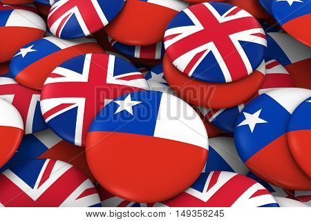 Chile And Uk Badges Background - Pile Of Chilean And British Flag Buttons 3D Illustration