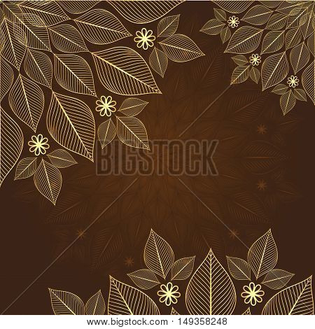 Brown vintage frame with lacy gold flowers vector