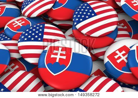 Usa And Slovakia Badges Background - Pile Of American And Slovakian Flag Buttons 3D Illustration
