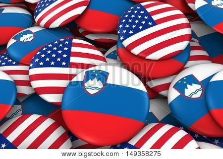 Usa And Slovenia Badges Background - Pile Of American And Slovenian Flag Buttons 3D Illustration