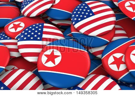 Usa And North Korea Badges Background - Pile Of American And North Korean Flag Buttons 3D Illustrati