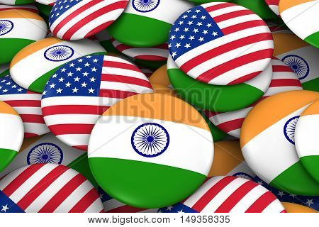 Usa And India Badges Background - Pile Of American And Indian Flag Buttons 3D Illustration