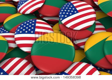 Usa And Lithuania Badges Background - Pile Of American And Lithuanian Flag Buttons 3D Illustration