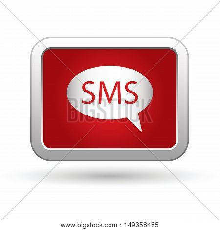 Sms icon on the button. Vector illustration
