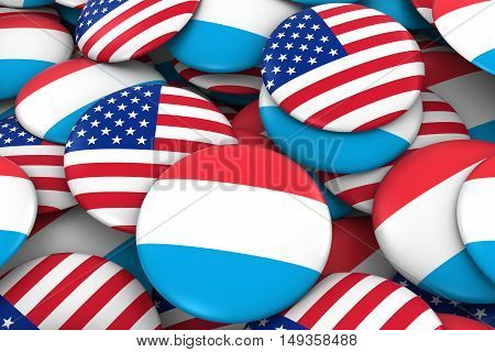 Usa And Luxembourg Badges Background - Pile Of American And Luxembourgish Flag Buttons 3D Illustrati