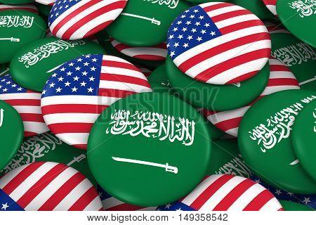 Usa And Saudi Arabia Badges Background - Pile Of American And Saudi Arabian Flag Buttons 3D Illustra