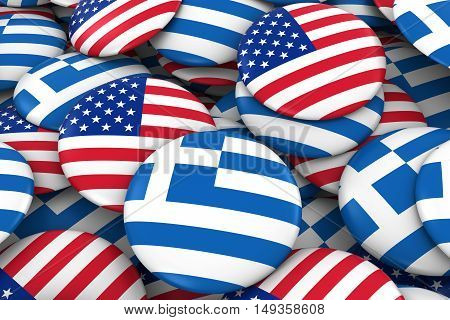 Usa And Greece Badges Background - Pile Of American And Greek Flag Buttons 3D Illustration