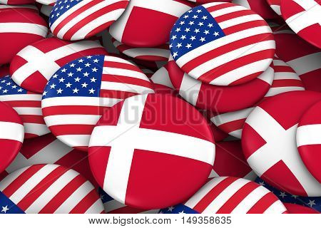Usa And Denmark Badges Background - Pile Of American And Danish Flag Buttons 3D Illustration