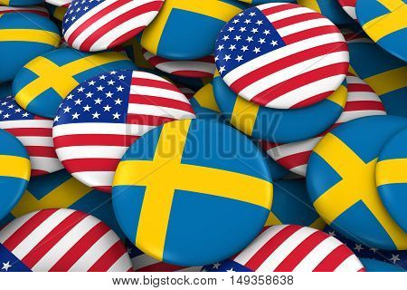 Usa And Sweden Badges Background - Pile Of American And Swedish Flag Buttons 3D Illustration