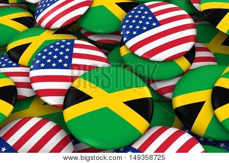 Usa And Jamaica Badges Background - Pile Of American And Jamaican Flag Buttons 3D Illustration