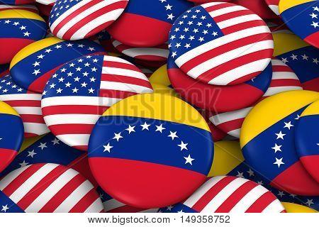 Usa And Venezuela Badges Background - Pile Of American And Venezuelan Flag Buttons 3D Illustration
