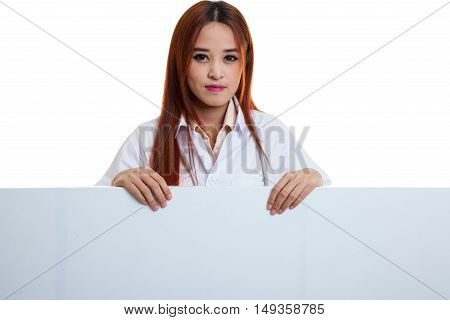 Young Asian Female Doctor Show Thumbs Up  Behind Blank White Billboard.