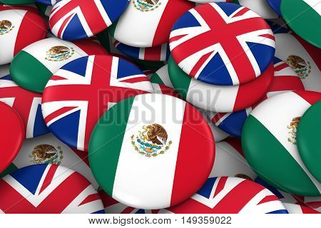 Mexico And Uk Badges Background - Pile Of Mexican And British Flag Buttons 3D Illustration