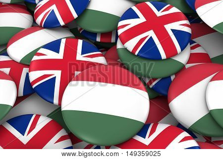 Hungary And Uk Badges Background - Pile Of Hungarian And British Flag Buttons 3D Illustration