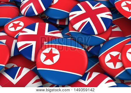 North Korea And Uk Badges Background - Pile Of North Korean And British Flag Buttons 3D Illustration