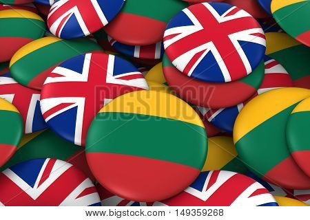 Lithuania And Uk Badges Background - Pile Of Lithuanian And British Flag Buttons 3D Illustration