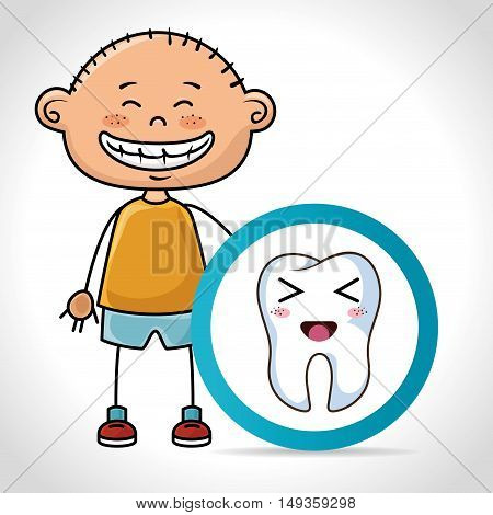 cartoon boy smiling with human tooth with happy expression face. vector illustration
