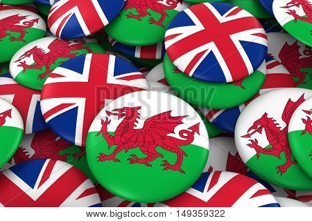 Wales And Uk Badges Background - Pile Of Welsh And British Flag Buttons 3D Illustration