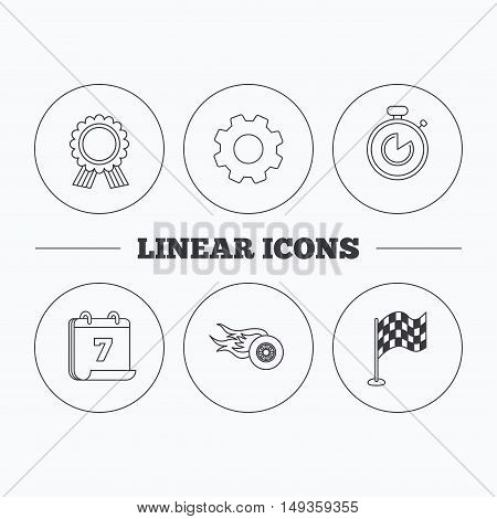 Race flag, winner medal and timer icons. Wheel on fire linear sign. Flat cogwheel and calendar symbols. Linear icons in circle buttons. Vector