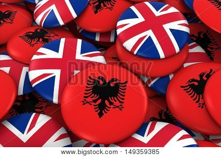 Albania And Uk Badges Background - Pile Of Albanian And British Flag Buttons 3D Illustration