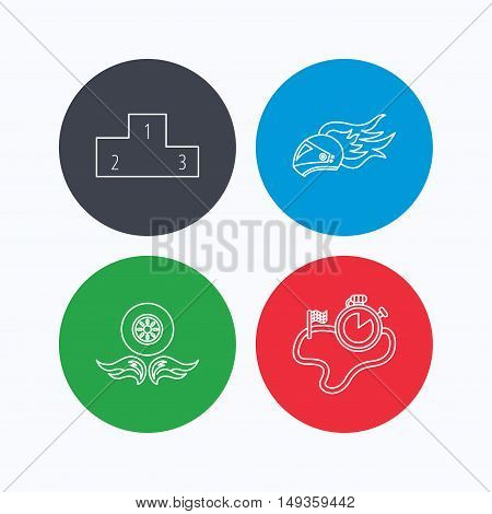 Winner podium, race timer and wheel on fire icons. Motorcycle helmet on fire linear sign. Linear icons on colored buttons. Flat web symbols. Vector
