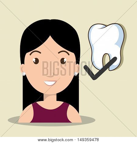 avatar human woman smiling with tooth check icon. vector illustration