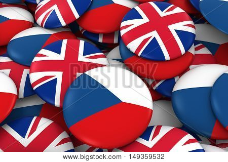 Czech Republic And Uk Badges Background - Pile Of Czech And British Flag Buttons 3D Illustration