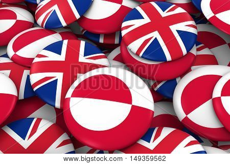 Greenland And Uk Badges Background - Pile Of Greenlandic And British Flag Buttons 3D Illustration