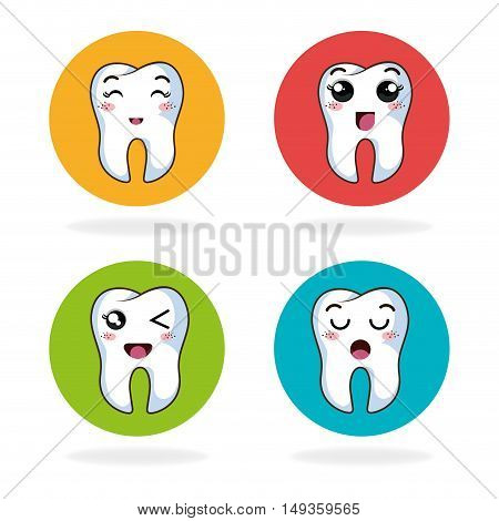 cartoon human tooth with happy and lazy expression faces. vector illustration