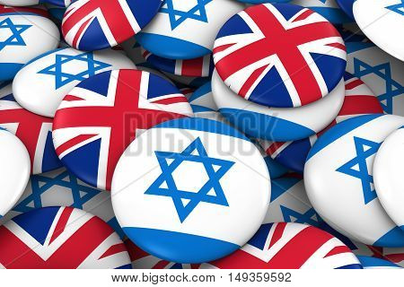 Israel And Uk Badges Background - Pile Of Israeli And British Flag Buttons 3D Illustration